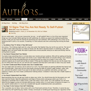 Authors.com - 10 Signs Not Ready To Self Publish