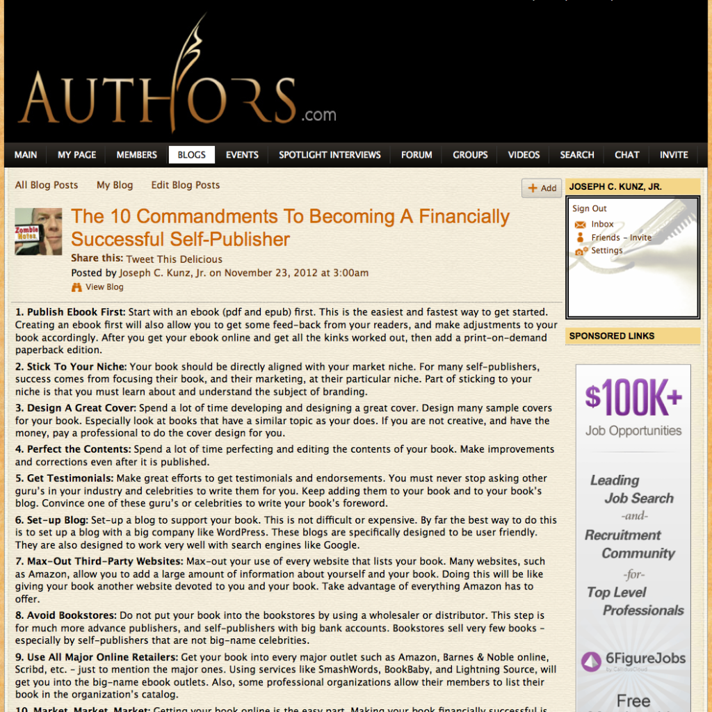 Authors.com - The 10 Commandments To Becoming A Financially Successful Self-Publisher