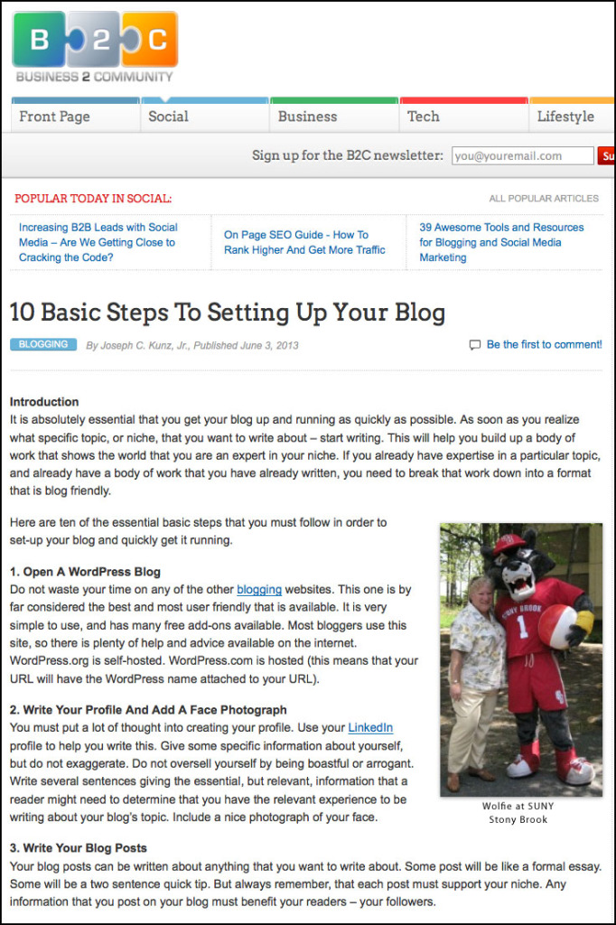 B2C - Business 2 Community Website - 10 Basic Steps To Setting Up Your Blog