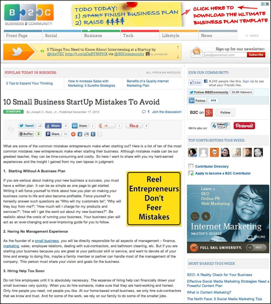 B2C - Business 2 Community Website - 10 Small Business Start-Up Mistakes