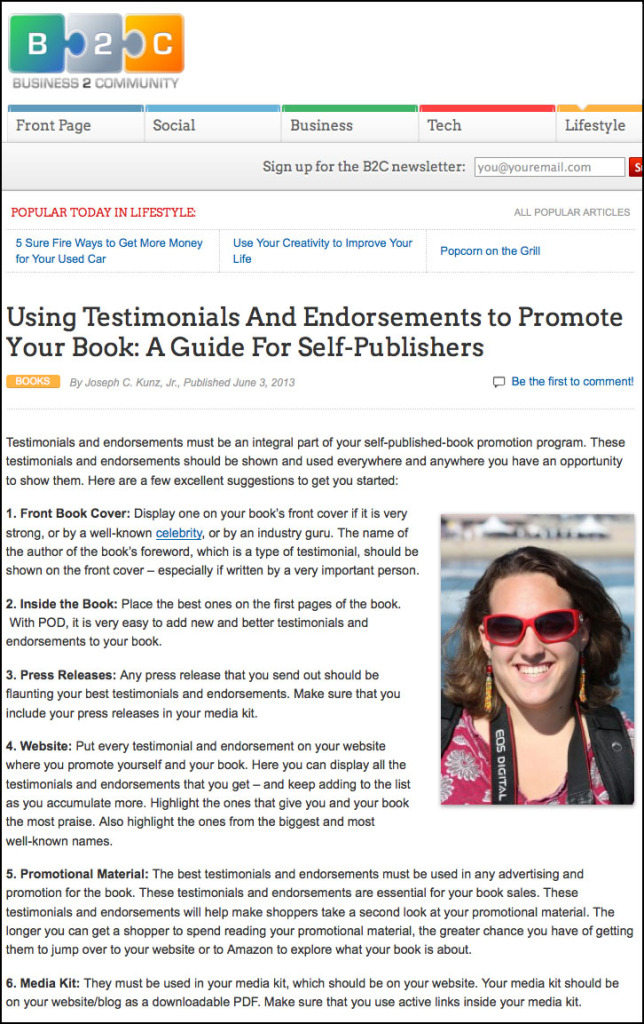 B2C - Business 2 Community Website - Using Testimonials And Endorsements