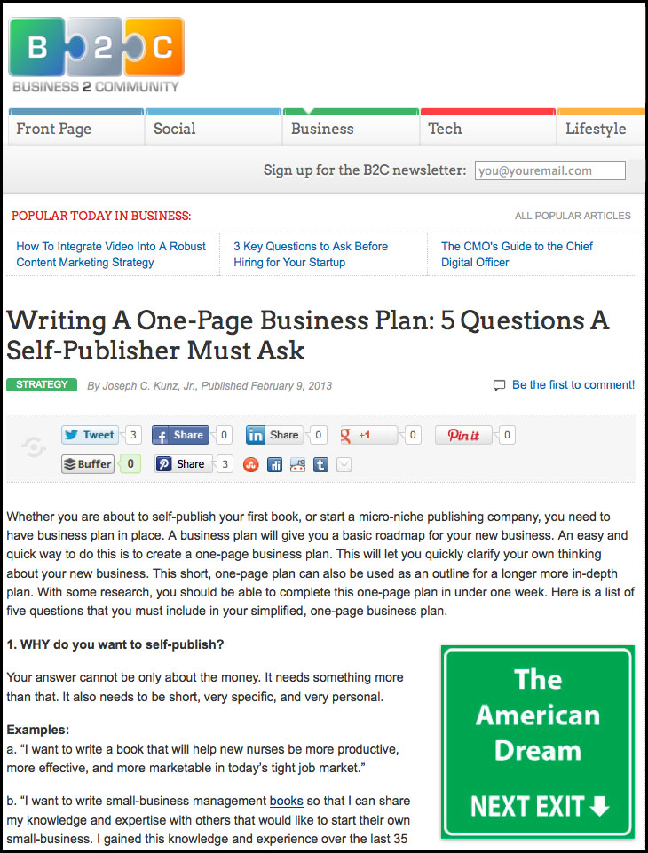 B2C - Business 2 Community.com - Writing A One-Page Business Plan