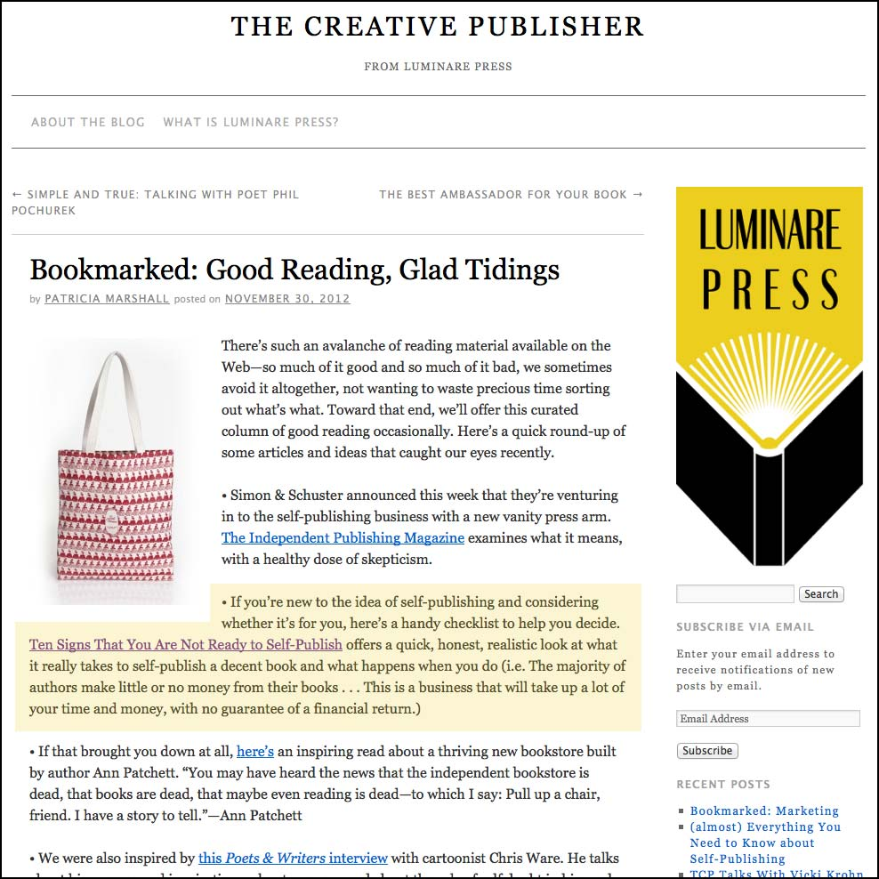 Thank you to Patricia Marshall for featuring this article on her website The Creative Publisher