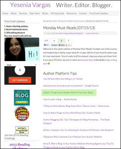 Thank you to Yesenia Vargas for linking to this article about blogging