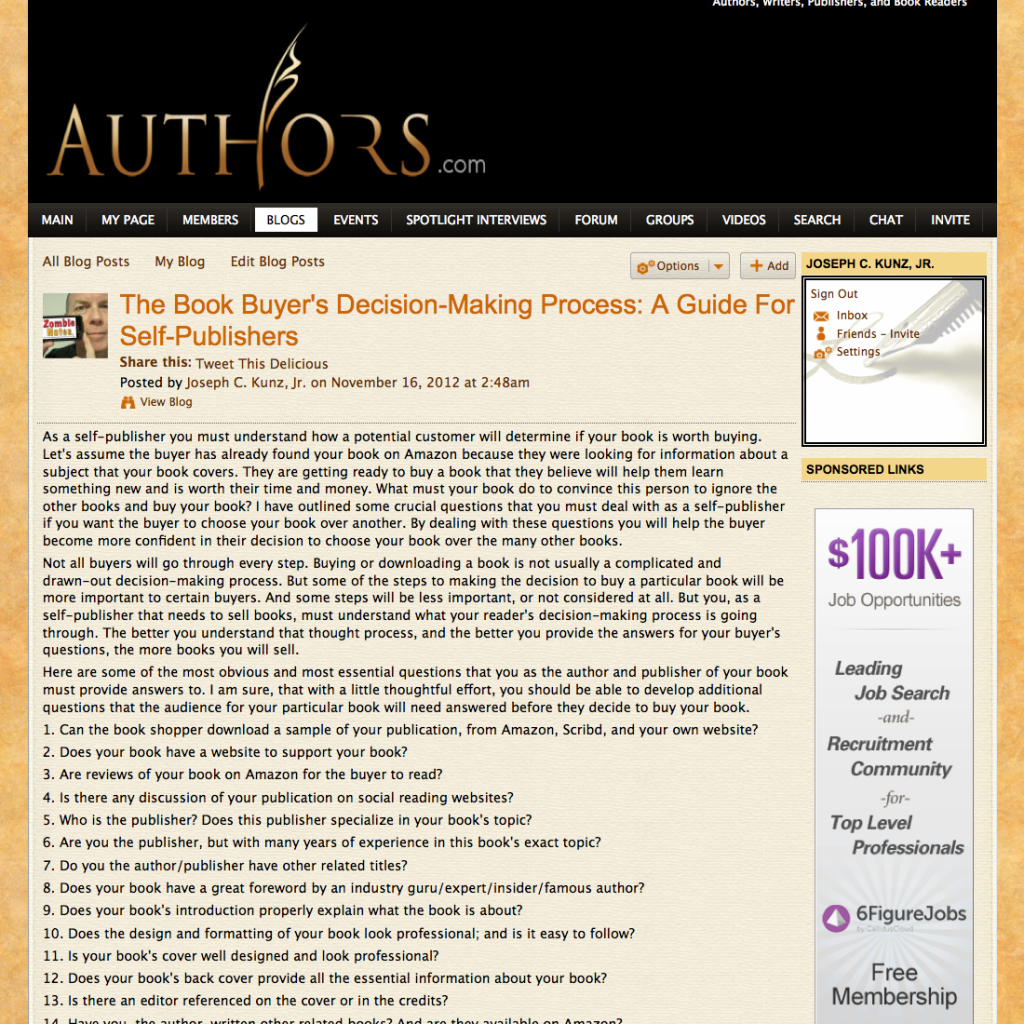 Authors.com Book Buyer's Decision-Making Process