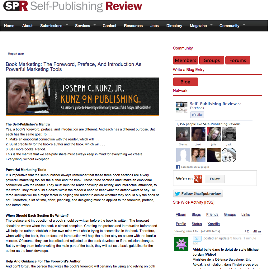 Self Publishing Review - The Foreword Preface And Introduction As Powerful Marketing Tools