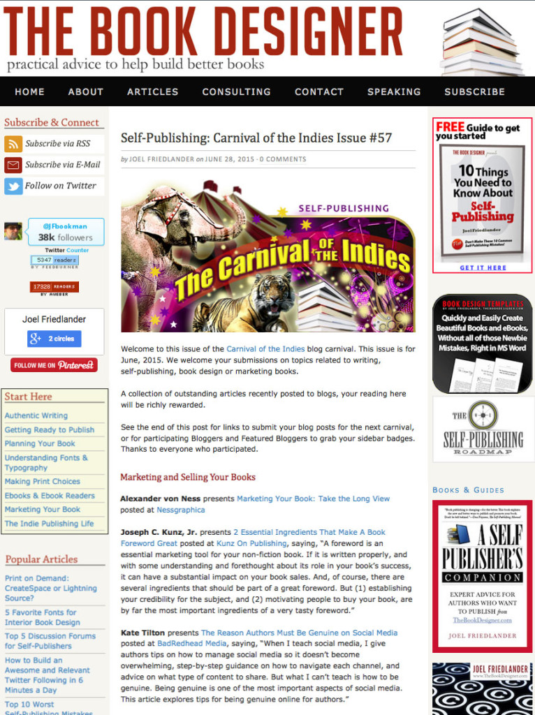 Thank you to Joel Friedlander for linking to this article from his website Carnival Of The Indies #57