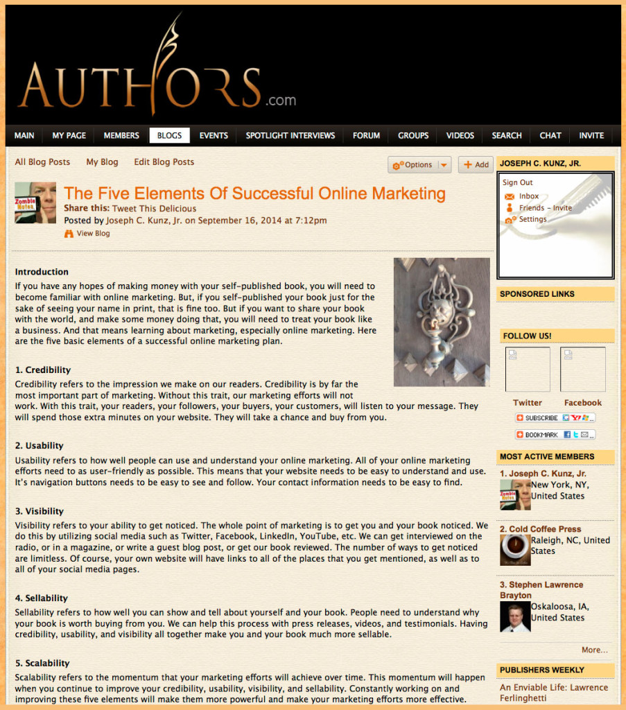 Authors.com - The Five Elements Of Successful Online Marketing