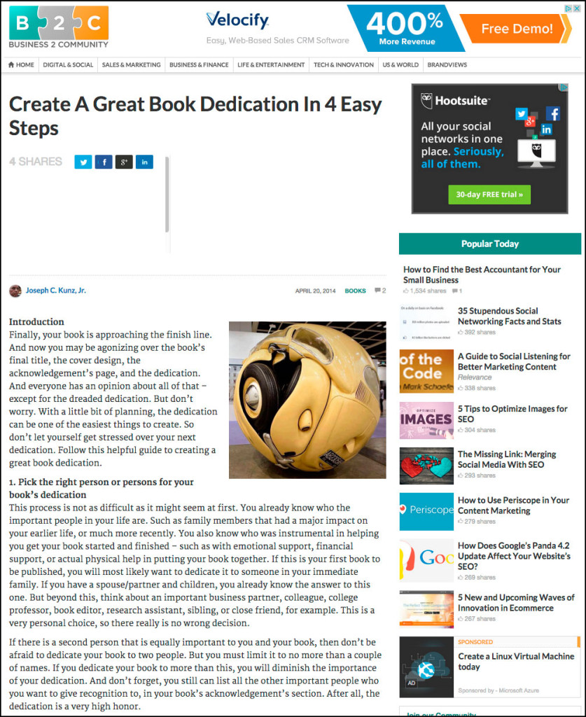 B2C - Business 2 Community - Create A Great Book Dedication In 4 Easy Steps