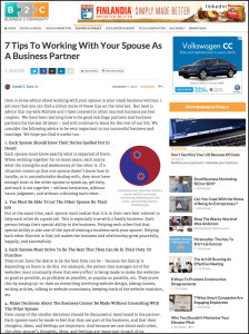 B2C - Business2Community.com - 7 Tips To Working With Your Spouse As A Business Partner