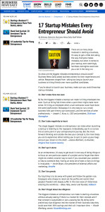 Thank you very much to staff writer Brittney Helmrich of Business News Daily for quoting me and linking to my website
