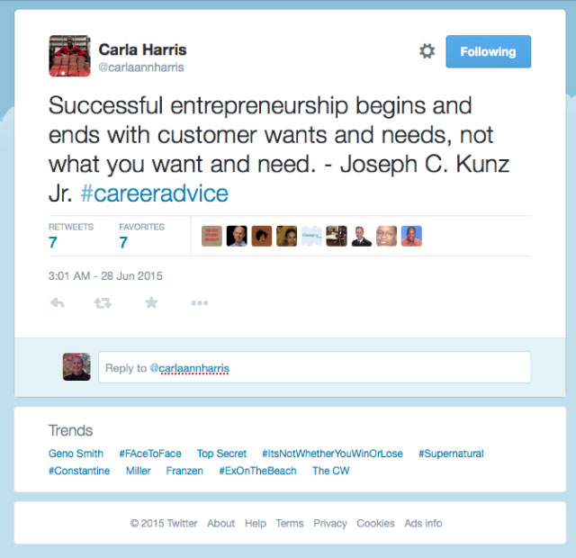 Thank you very much to the amazing Carla Harris for sharing my quote about entrepreneurship. She is the author of Strategies To Win: The New Way To Step Out, Step Up, or Start Over in your Career
