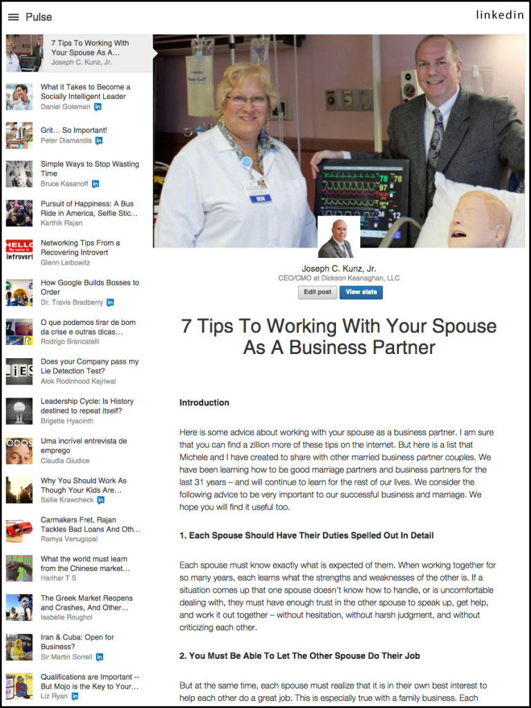 LinkedIn - 7 Tips To Working With Your Spouse As A Business Partner