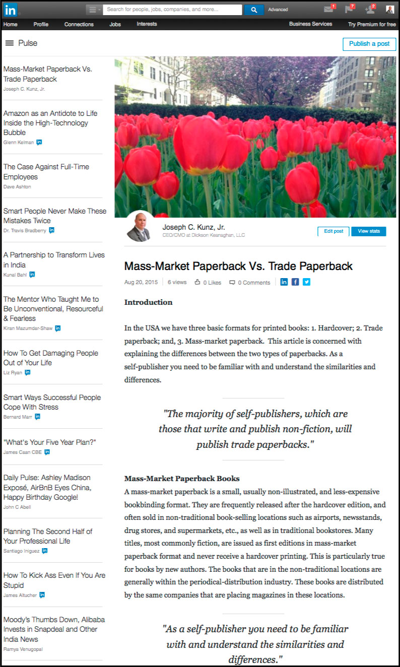 Linkedin - Mass-Market Paperback Vs. Trade Paperback