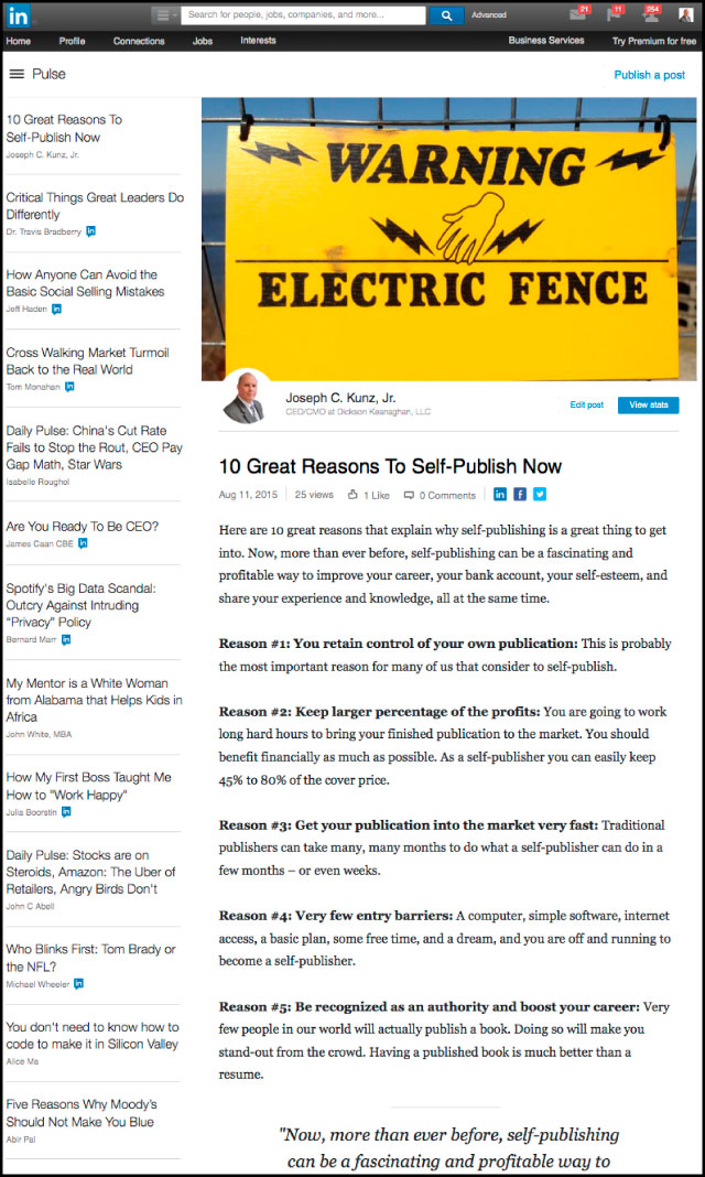 Linkedin - 10 Great Reasons To Self-Publish Now