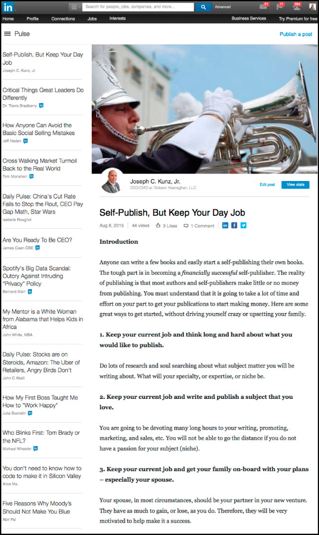 Linkedin - Self-Publish, But Keep Your Day Job