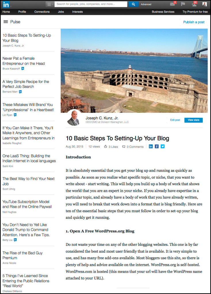 Linkedin - 10 Basic Steps To Setting-Up Your Blog