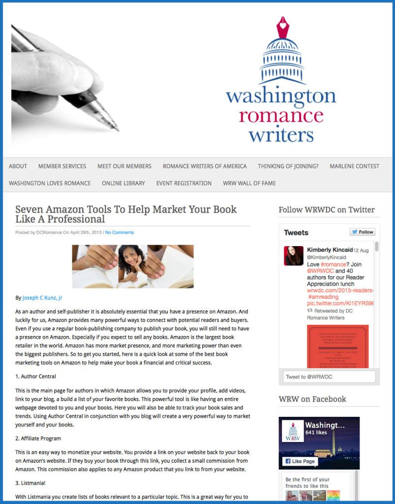 Thank you very much to Washington Romance Writers of DC for posting and linking to my article.