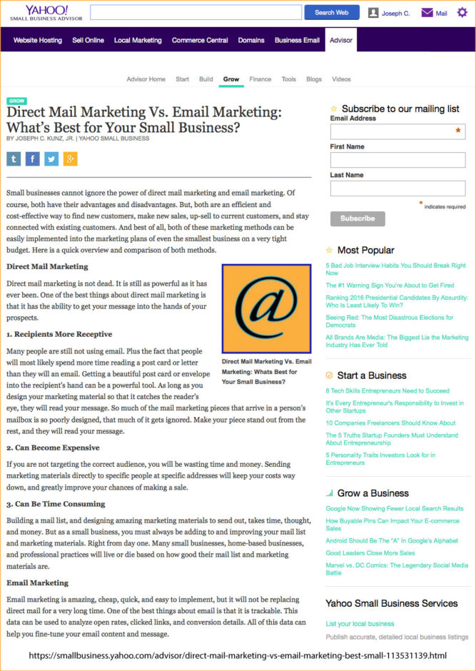 Yahoo! Small Business Advisor - Direct Mail Marketing Vs. Email Marketing: What's Best for Your Small Business?