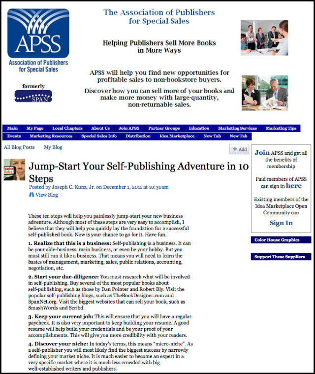 APSS - Jump-Start Your Self-Publishing Adventure in 10 Steps