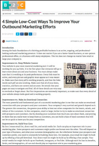 Business2Community - 4 Simple Low-Cost Ways To Improve Your Outbound Marketing Efforts