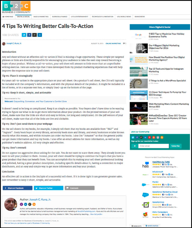Business2Community - 4 Tips To Writing Better Calls-To-Action