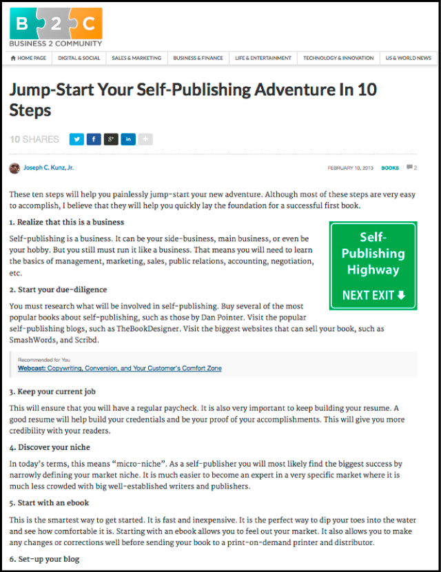B2C - Jump-Start Your Self-Publishing Adventure in 10 Steps