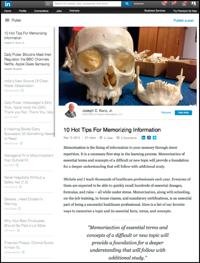 Linkedin - 10 Hot Tips For Memorizing Information