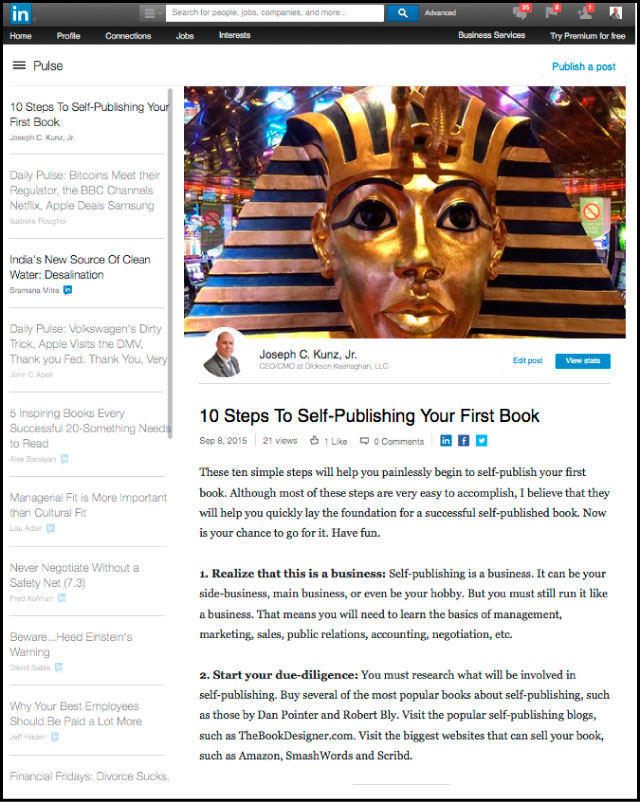 Linkedin - 10 Steps To Self-Publishing Your First Book