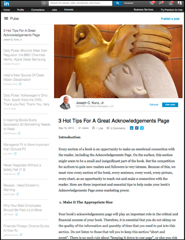 Linkedin - 3 Hot Tips For A Great Acknowledgements Page