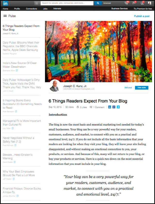 Linkedin - 6 Things Readers Expect From Your Blog