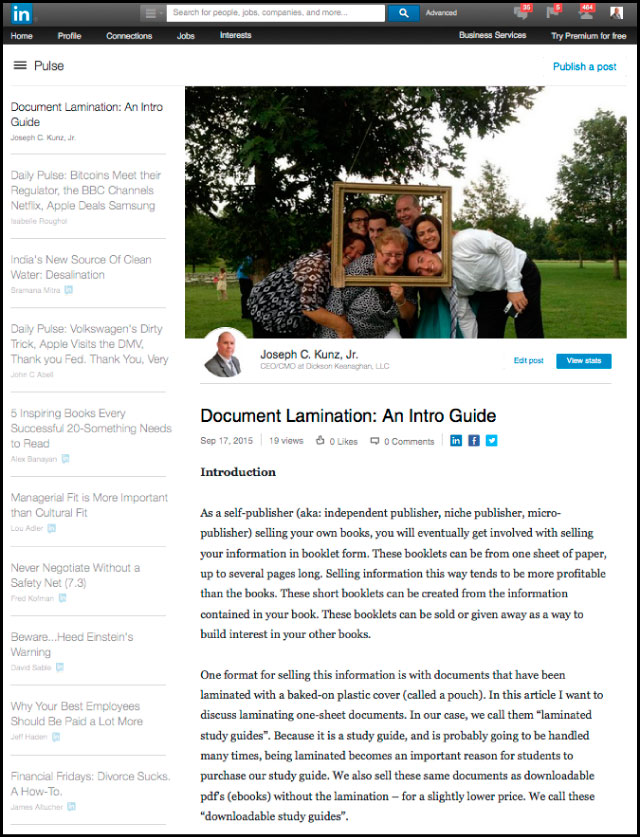 Linkedin - Document Lamination: An Intro Guide