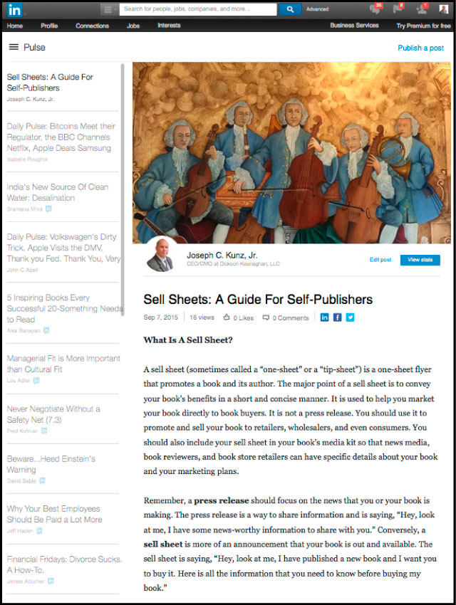 Linkediin - Sell Sheets: A Guide For Self-Publishers