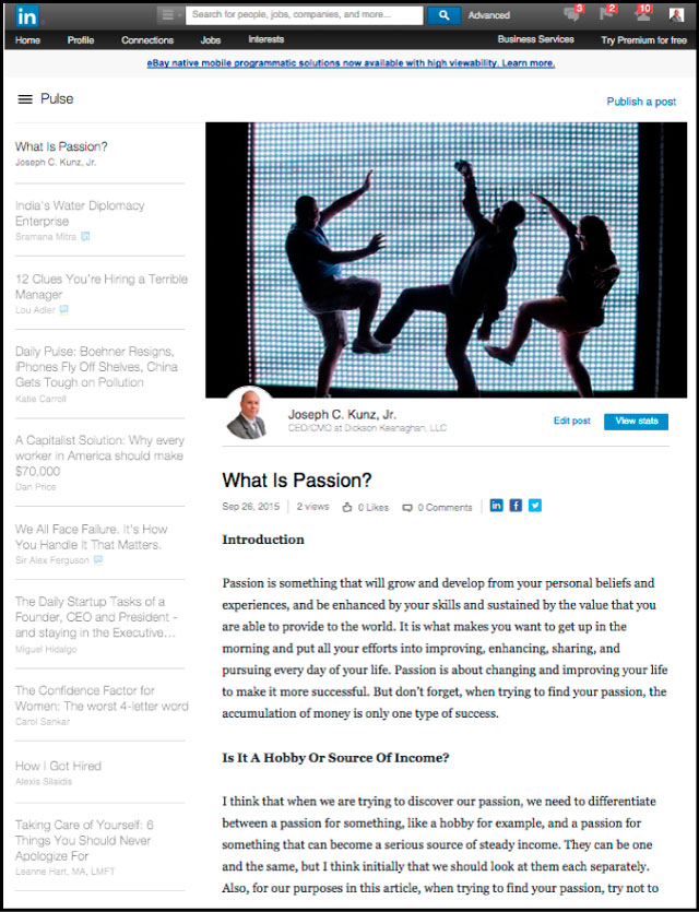 Linkedin - What Is Passion?