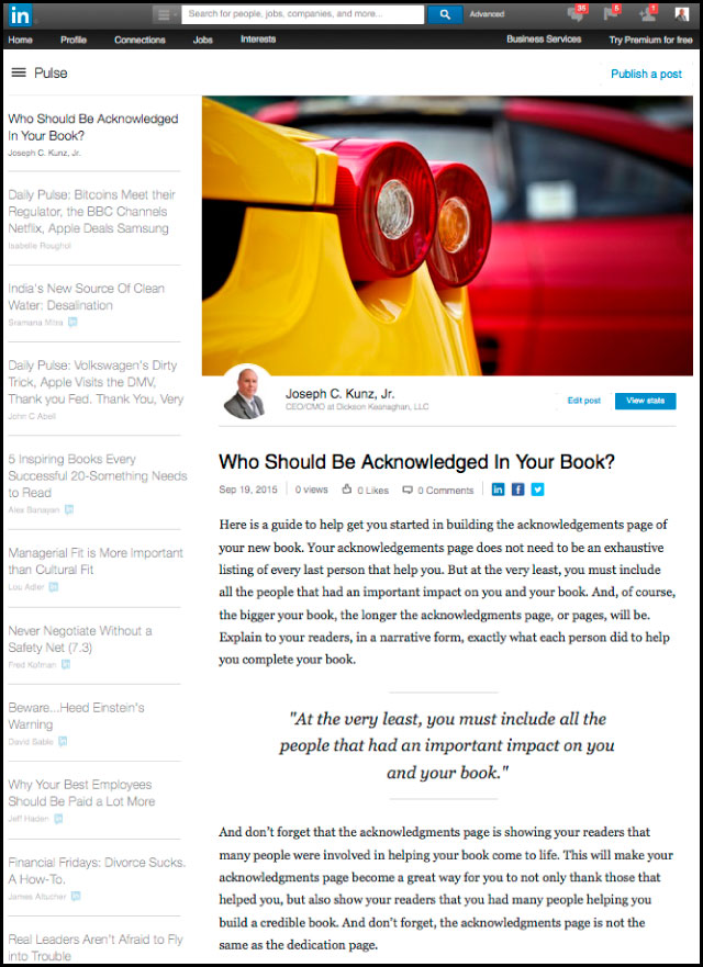 Linkedin - Who Should Be Acknowledged In Your Book?