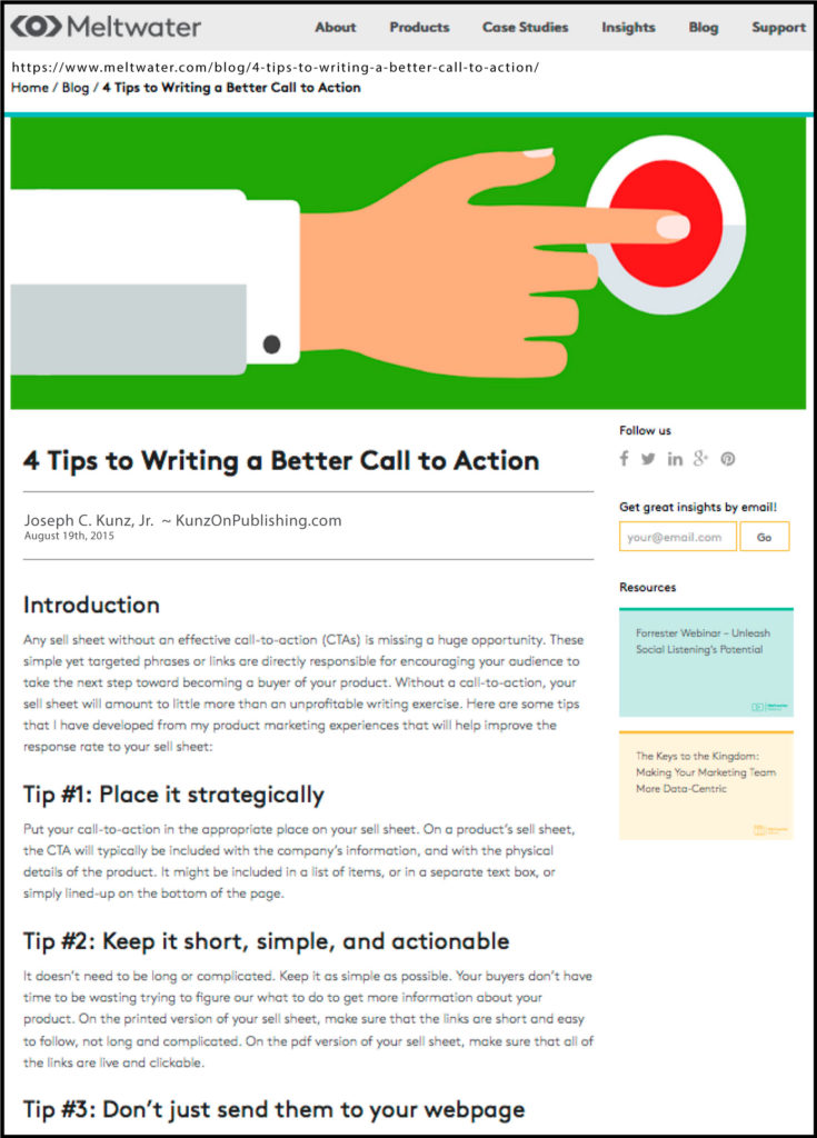 Meltwater.com - 4 Tips To Writing A Better Call To Action. Thank you to the team at Meltwater.com for posting and sharing my article.
