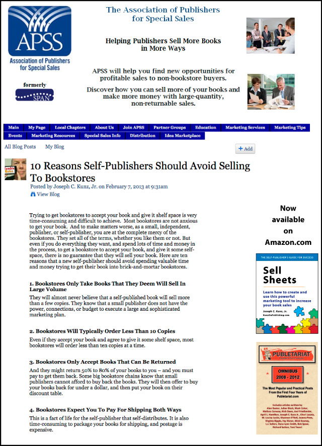 APSS - SPAN - 10 Reasons Self-Publishers Should Avoid Selling To Bookstores