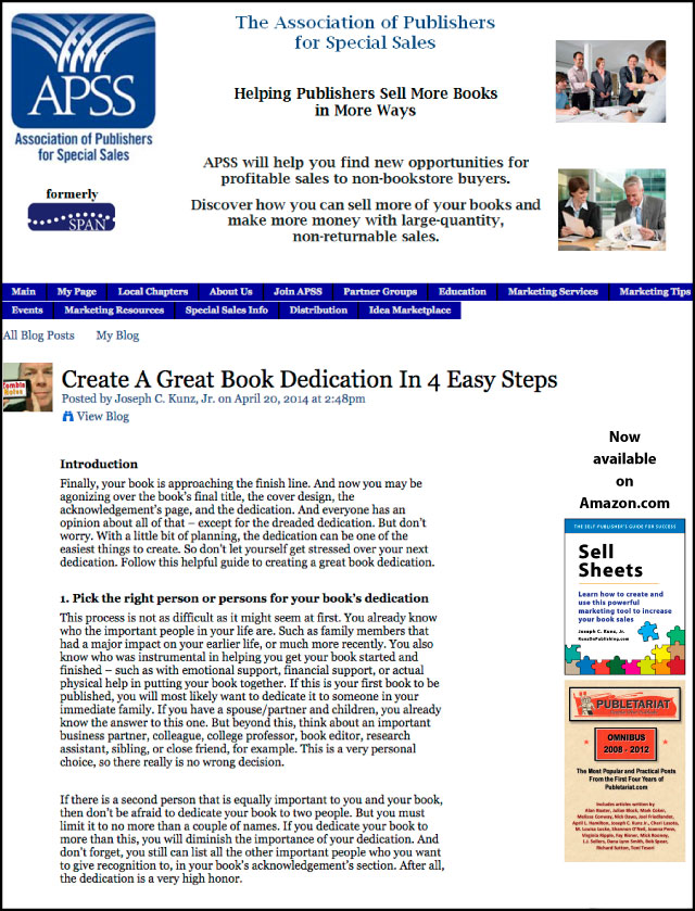 APSS -SPAN - Create A Great Book Dedication In 4 Easy Steps