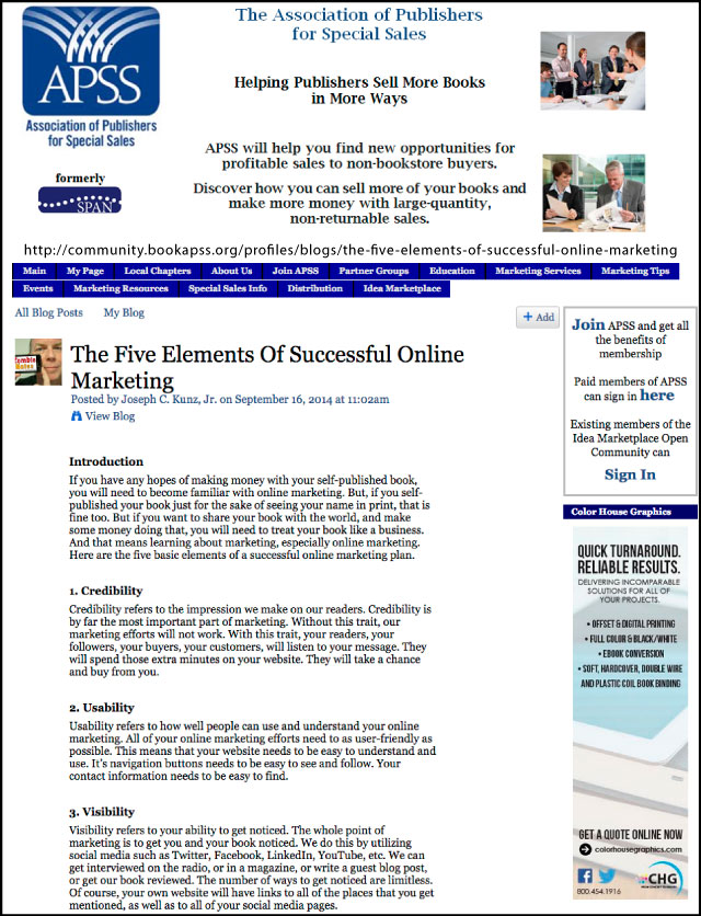APSS-SPAN - The Five Elements Of Successful Online Marketing