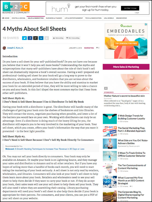 Business2Community.com - 4 Myths About Sell Sheets