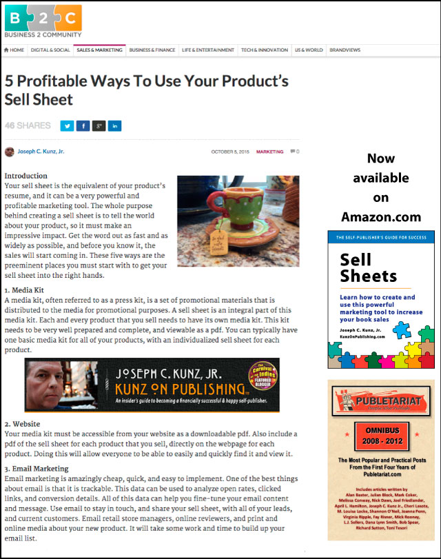 Business2Community.com - 5 Profitable Ways To Use Your Product's Sell Sheet