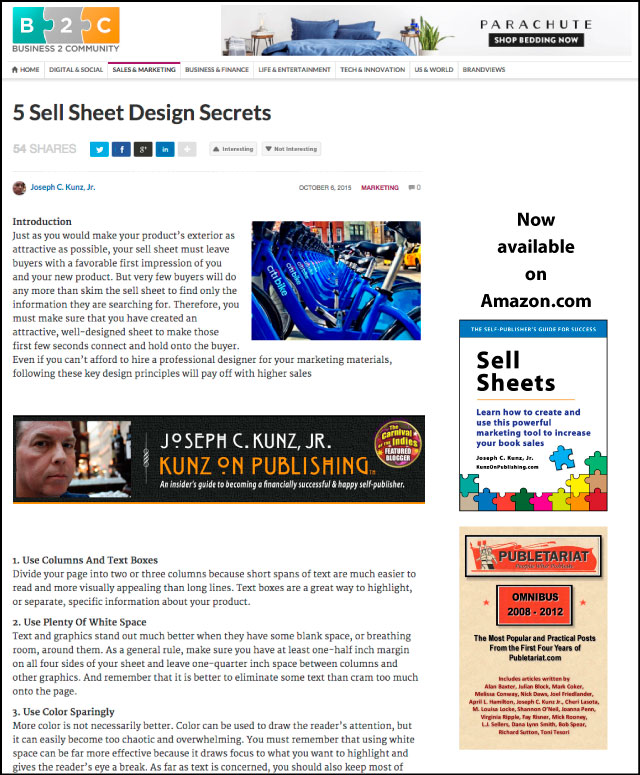 Business2Community.com - 5 Sell Sheet Design Secrets