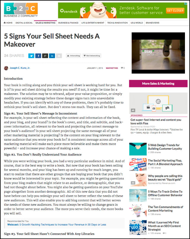 Business2Community.com - 5 Signs Your Sell Sheet Needs A Makeover