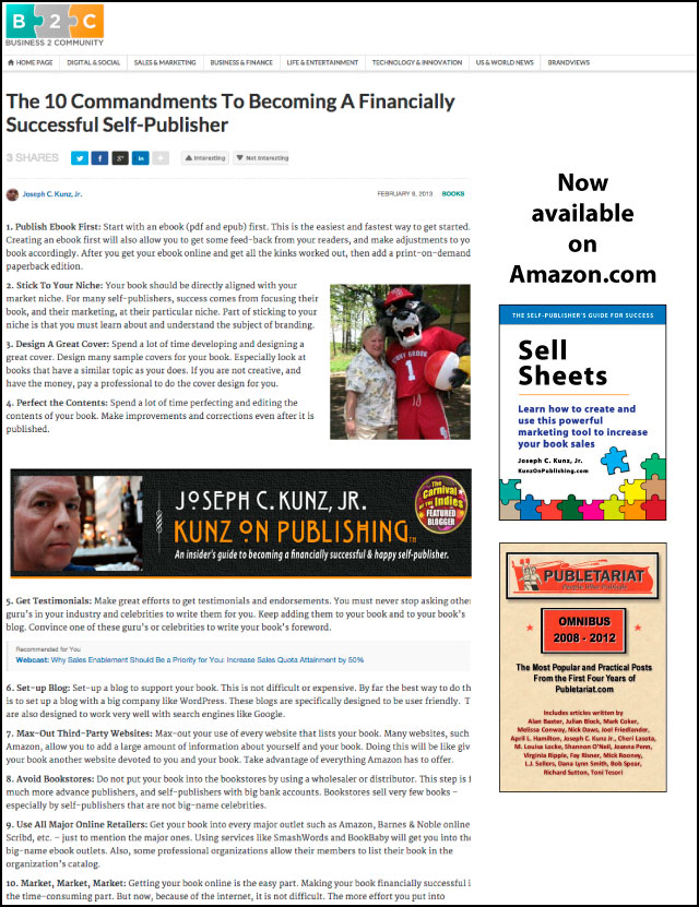 Business2Community.com - The 10 Commandments To Becoming A Financially Successful Self-Publisher