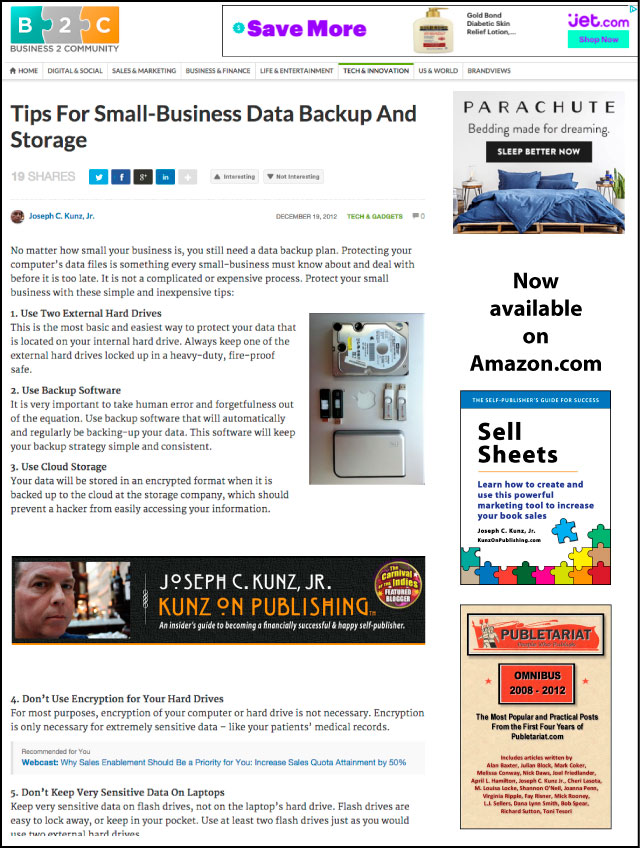 Business2Community.com - Tips For Small-Business Data Backup And Storage