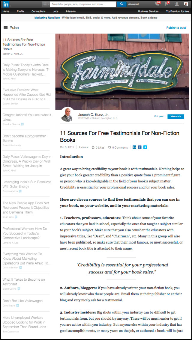 Linkedin - 11 Sources For Free Testimonials For Non-Fiction Books