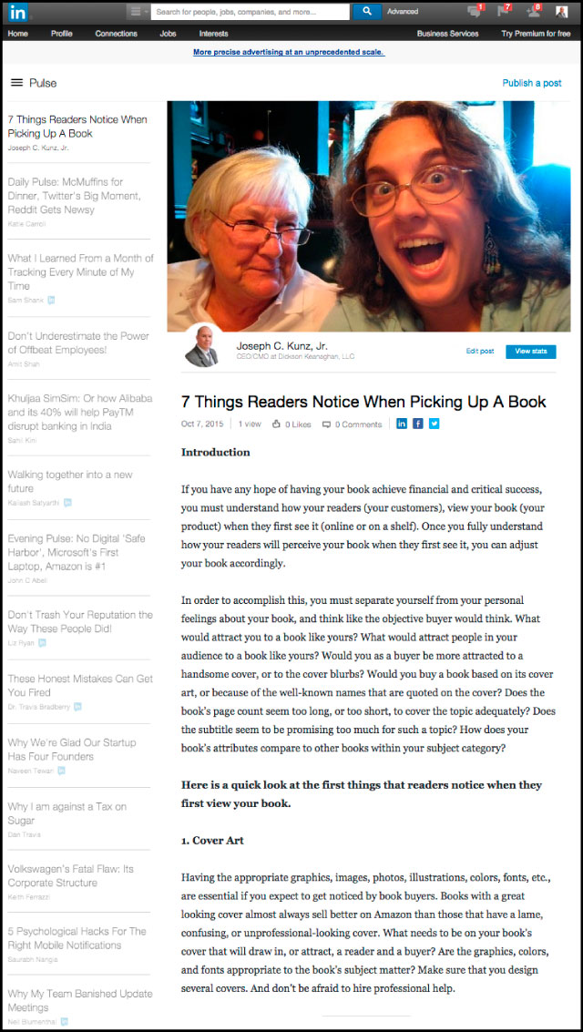 Linkedin - 7 Things Readers Notice When Picking Up A Book
