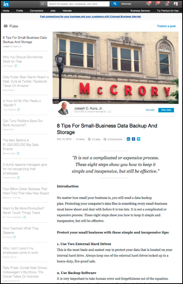 Linkedin - 8 Tips For Small-Business Data Backup And Storage