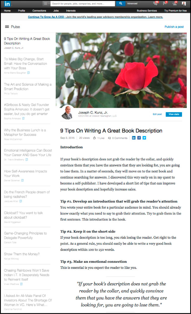 Linkedin - 9 Tips On Writing A Great Book Description