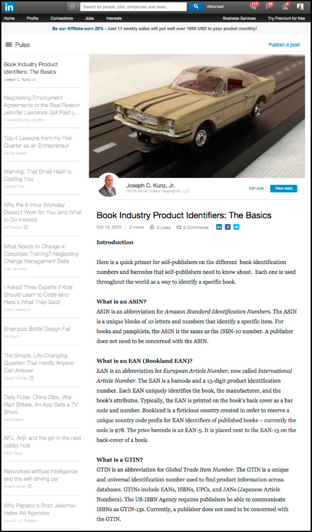 Linkedin - Book Industry Product Identifiers: The Basics